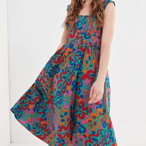 Urban Outfitters Zoey Abstract Tie-Back Midi Dress